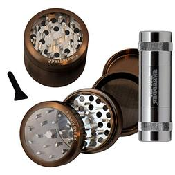 "2.2"" - Pewter 4 Piece SharpStone® Clear Top Herb Grinder +"