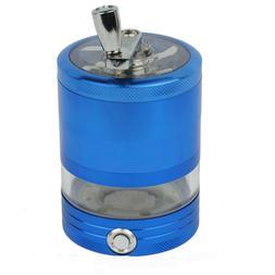 "2.5"" CNC Aluminum 4 Piece LED Hand Crusher Herb Grinder Blue"
