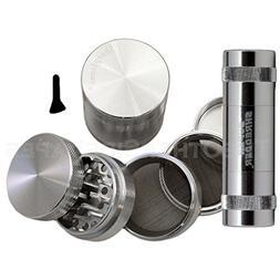 2.2 - Silver 5 Piece SharpStone® Herb Grinder + SUPER SHRED