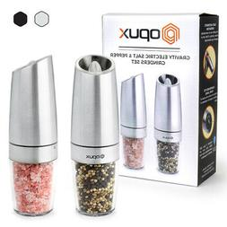2PCS Automatic Electric Pepper Mill And Salt Grinder Stainle