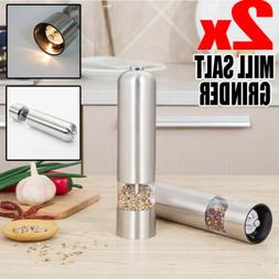 2PCS/Set Electric Salt and Pepper Mills Grinders Silver Batt
