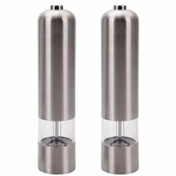 2pcs stainless steel electric automatic pepper mills