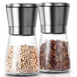 2pcs stainless steel glass salt and pepper