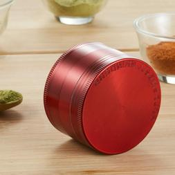 3.0 Inch Red Extra Large 4 Piece Tobacco Grinder Sharp Metal