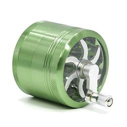 4 Part Aluminum Diameter 63mm Handle Herb Grinder Spice Mill