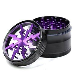 "4 Piece 2.5"" Aluminum Lightning Pattern Clear Top Herb Grind"