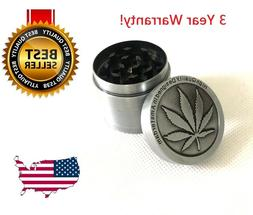 4 Piece Herb Grinder Spice Tobacco/Weed Smoke Zinc Alloy Cru