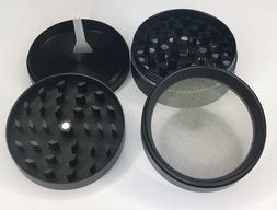 4 Piece Magnetic 2.5 Inch Black Tobacco Herb Grinder Spice W