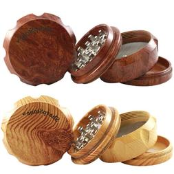 SHARPSTONE 4 Piece Wooden Herb Grinder - 63MM Light & Dark B