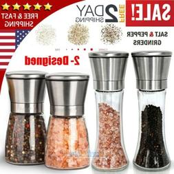 4X Salt and Pepper Grinder Set Ceramic Mills Stainless Steel
