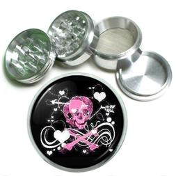 """63mm 2.5"""" 4 Pc Aluminum Sifter Magnetic Herb Grinder Skull D"""