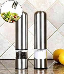 Greenco GRC0211 2-Pack Automatic Electric Pepper Mill and Sa