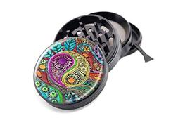 "Psychedelic Yin Yang Design Micro Crusher Black 2.5"" 4 Piece"