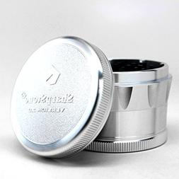 "Shapstone V2 Hardtop Grinder Silver 2.5"" with a Cali Crusher"