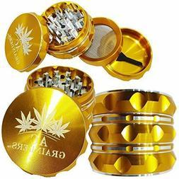 "AC Best Herb Grinder . Large 4 Piece, 2.5"" GOLD Aluminium"