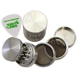 """2.2"""" - Silver 5 Piece SharpStone Aluminum Herb Grinder + Cus"""