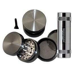 """2.2"""" - Grey 4 Piece SharpStone® Aluminum Herb Grinder + SUP"""