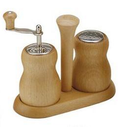 Bisetti Cuneo 6cm Natural Wood Salt Shaker & Pepper Mill Gri
