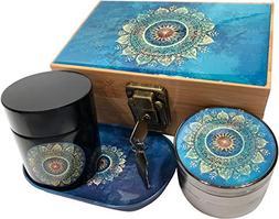 Blue Mandala Stash Box Combo - 4 Part Titanium Grinder and B