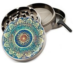 "Blue Mandala 4 Piece Zinc Titanium Metal Herb Grinder 2.5"" V"