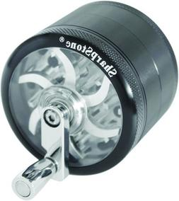 "SHARPSTONE CLEAR TOP GRINDER WITH CRANK 4 PIECE 2.5"" BLACK P"