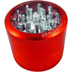 """SHARPSTONE CLEAR TOP GRINDER 4 PIECE 2.2"""" RED PACK OF 1"""