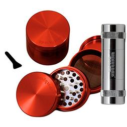 "2.2"" - Red 4 Piece SharpStone® Clear Top Herb Grinder + SUP"