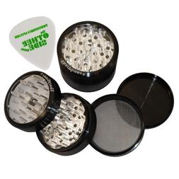 "3.0"" - Black 4 Piece SharpStone Clear Top Herb Grinder + Cus"