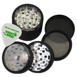 "2.5"" - Black 4 Piece SharpStone Clear Top Herb Grinder + Cus"