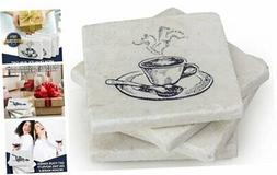 Coffee Table Decor Marble Coaster - Set of 4 for Your Kitche