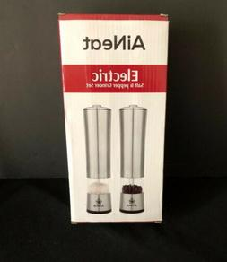 AiNeat Electric Salt and Pepper Grinder Set With LED Light -