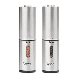 Kato Electric Salt and Pepper Grinders Set Stainless Steel Automatic Pepper Shaker Mill with Led Light and Adjustable Coarseness for Flavor /& Seasoning Pack of 2 Battery Operated