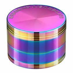 Golden Bell 4 Piece Spice Herb Grinder, 2-Inch - Rainbow Col