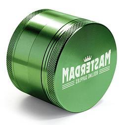 Masterdam Grinders 4-Piece Herb Grinder, 2.5 inch, Green, An