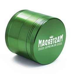 Masterdam Grinders 4-Piece Herb Grinder, 2.2 inch, Green Ano
