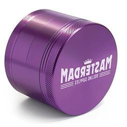 Masterdam Grinders 4-Piece Herb Grinder, 2.5 inch, Purple, A