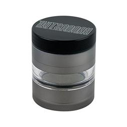 2.2 Inch Kannastor Gunmetal 4 Part Clear Jar Grinder with Ea