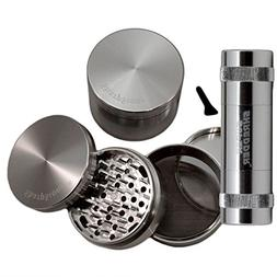 "3.0"" - Silver 4 Piece SharpStone® Herb Grinder with Reeling"