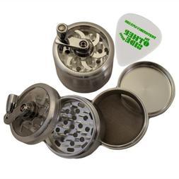 "2.5"" - Silver 4 Piece SharpStone Herb Grinder with Reeling H"