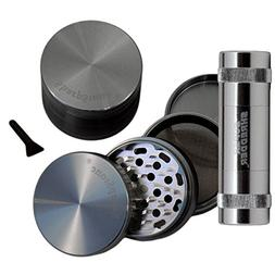 "2.5"" - Grey 4 Piece SharpStone® Herb Grinder + SUPER SHREDD"