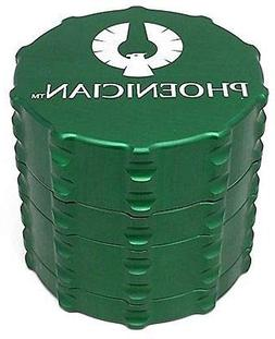 Phoenician Herbal Grinder - Medium 4 Piece - Green with 2 Ro