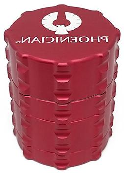 Phoenician Herbal Grinder - Small 4 Piece - Red with 2 Rolli