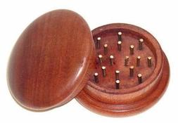 """Quality 2"""" Inch 2 Piece Rosewood Wood Herb Grinder by Smoke"""