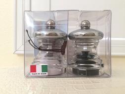BISETTI Italy PEPPER & SALT Set SINGLE MILL CLEAR GRINDER Co