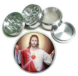 Jesus Christ Sacred Heart Aluminum Tobacco Herb Spice Grinde