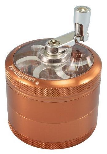 "2.5"" - Brown 4 Piece SharpStone® Herb Grinder with Reeling"
