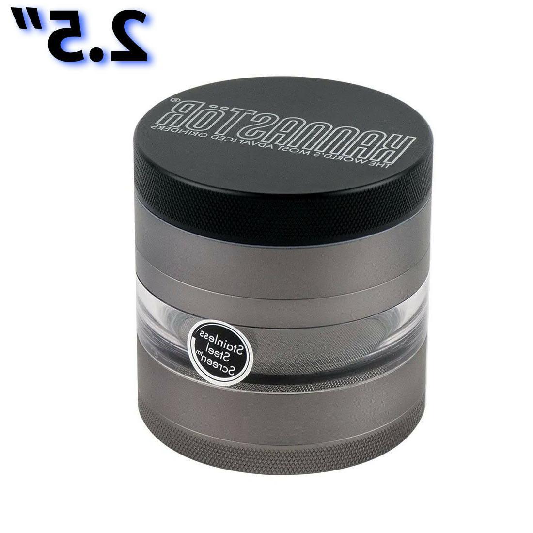 Kannastor or 2.2 Inch GUNMETAL Multi Chamber Herb Grinder &