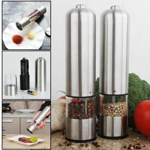 2pcs adjustable electric pepper grinder salt spice
