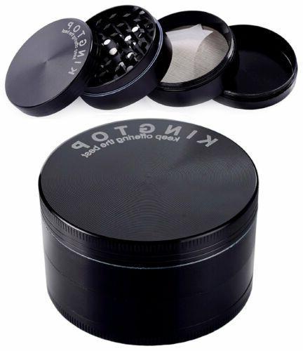 4 Black Tobacco Herb Grinder Spice Herbal Zinc Alloy Smoke New