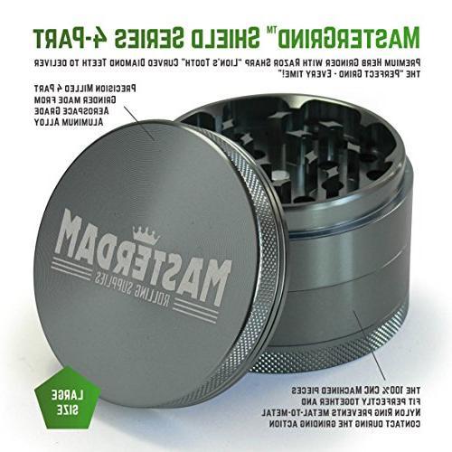 Masterdam Grinders Herb Grinder, inch, Grey, Anodized